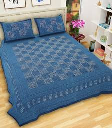 Jaipuri Hand Printed King Size Cotton Bedsheet with 2 Pillow Covers-Blue