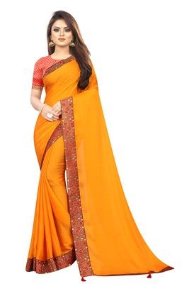 Mustar Vichitra Silk Bollywood Saree With Jacquard Blouse Piece.