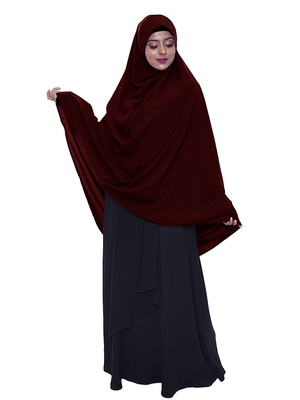 women's salafi/maftha/hijab/makhna/prayer hijab maroon -XL
