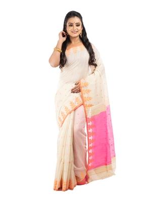 Bunkaari India Women Cotton Blend Jamdani Jacquard saree