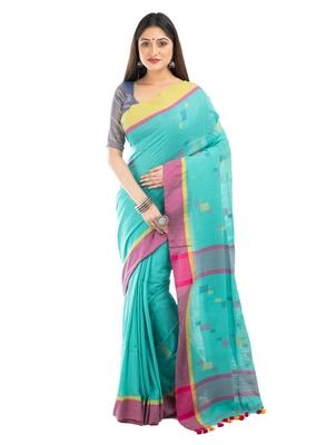 Bunkaari India Women Cotton Blend Jamdani Thread work saree