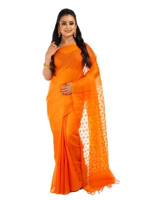 Bunkaari India Women Organza Bhagalpuri Solid saree