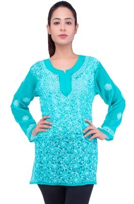 Lavangi Women Lucknowi Chikankari Chiffon Short Top (Sea Green)