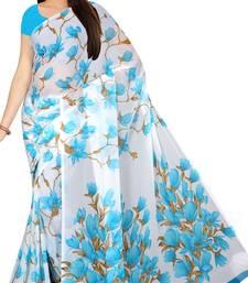 Chitrakshi Chiffon printed light weight saree with blouse piece (blue)