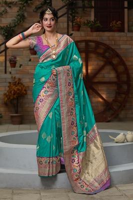 Turquoise hand woven banarasi silk saree with blouse
