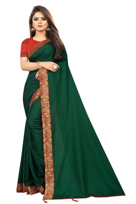 Dark Green Vichitra Silk Fancy lace Bollywood saree With Jacquard Blouse Piece.