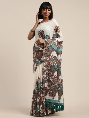 Cream-Coloured & Brown Linen Blend Ethnic Printed Saree