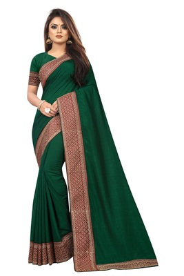 Dark Green Vichitra Silk Embriodered Lace With Blouse Piece.