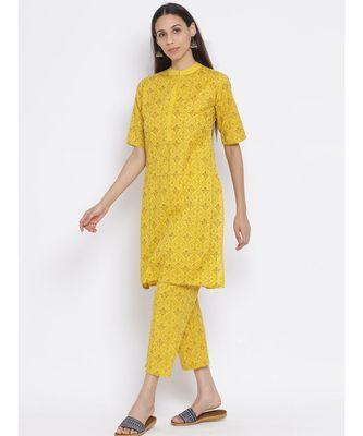 Span Yellow Cotton Kurta and Pant Set