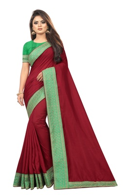 Maroon Vichitra Silk Saree With  Embriodered Lace and Blouse Piece.