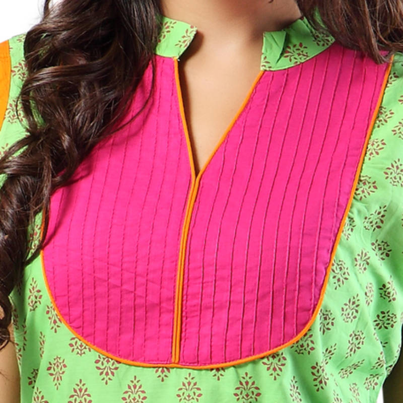 Buy Green Cotton Sleeveless With Collar Neck Ready To Wear