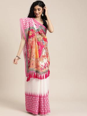White & Pink Linen Blend Solid Ikat Saree