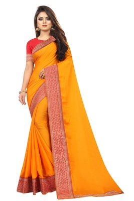 Mustar Vichitra Silk Bollywood Saree With Embriodered Lace  and Blouse Piece.