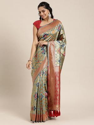 Grey Silk Blend Woven Design Patola Saree