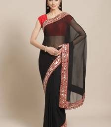 Black Mirror Work Solid Saree
