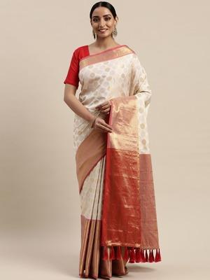 Off-White & Golden Silk Blend Woven Design Banarasi Saree