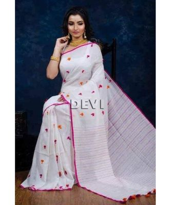 White Plain Cotton Handloom Sarees With Blouse