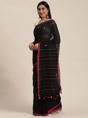 Black Plain Cotton Handloom Sarees With Blouse
