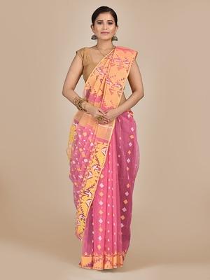 Pink hand woven silk cotton saree