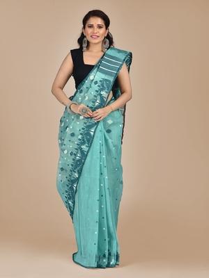 Blue hand woven silk cotton saree