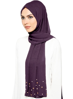 JSDC Light Violet Color Casual Plain Georgette Pearl Work Hijab Scarf