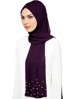 JSDC Women Plain Georgette Long 2 Meter Pearl Work Hijab Scarf