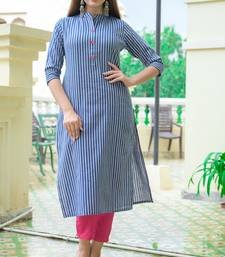 Blue Lining Cotton Blend Kurti