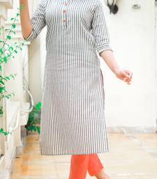 Grey Lining Cotton Blend Kurti With Pocket