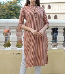 Black Lining Cotton Blend Kurti With Pocket