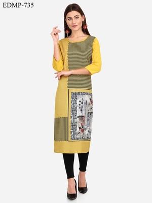 yellow American Crepe Digital Print trendy Kurta