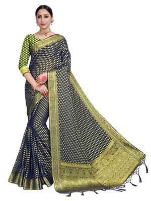 Navy blue woven chiffon saree with blouse