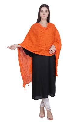 Kaustuki Orange Pure Cotton Tasselled Stole Dupatta
