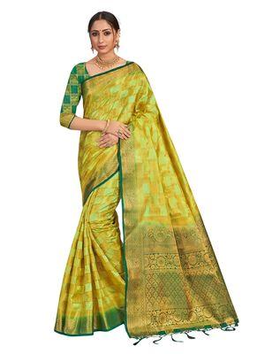 Light green woven art silk saree with blouse