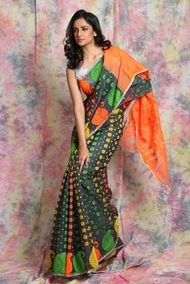 Grey jamdani saree with orange pallu