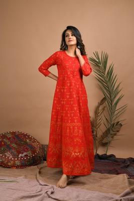 KAAJH Red Gold Printed Cotton Anarkali Kurta