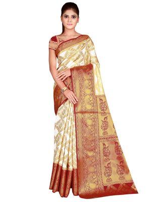 Fab Woven Maroon Banarasi Silk Jacquard Saree With Blouse Piece