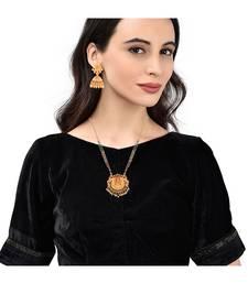 Long Pearl Chain Temple Laxmi Pendant Necklace Set