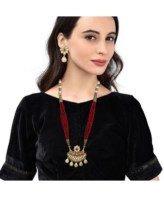 Long Ruby Beaded Pendent Necklace Set