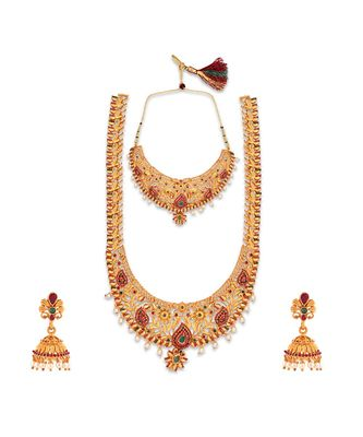 Gold Plated Designer necklaces and mangtikaa with earings