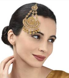 Antique Gold Jhoomar Passa With Dangling Pearls For Women