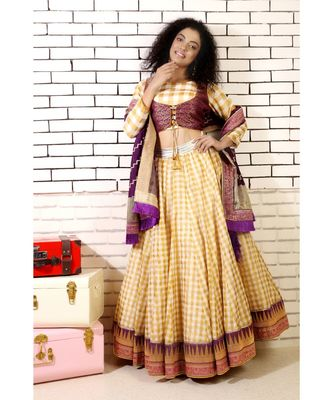 gold  checked lehenga with purple banarasi border and 2 piece brocade blouse and purple banarsi dupatta and cancan