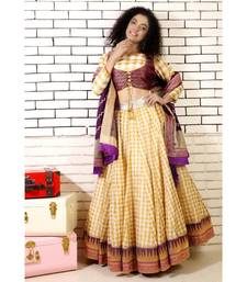 gold  checked lehenga with purple banarasi border and 2 piece brocade blouse and purple banarsi dupatta and cancan