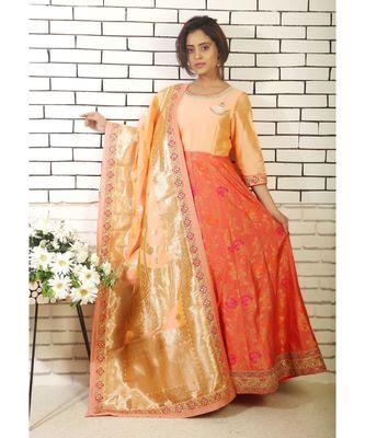 peach banarasi silk anarkali with hand zardozi work on yoke and banarsi dupatta