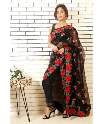 black sheer dhoti with slacks and black embroidered drape with blouse piece