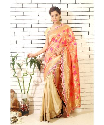gold pre pleated Wrap with Floral banarasi Drape with gota border and Blouse piece
