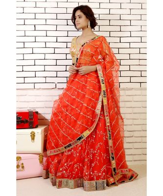 coral embroidered organza lehenga with embroiderred dupatta with zardozi border and banarasi blouse and cancan
