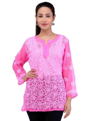 Lavangi Women Lucknowi Chikankari Georgette Short Top (Pink)