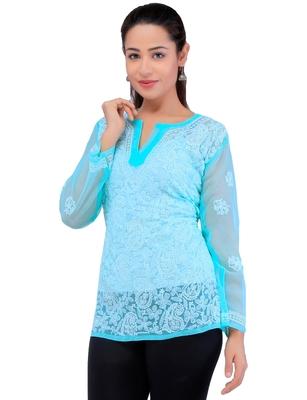 Lavangi Women Lucknowi Chikankari Georgette Short Top (Sky Blue)