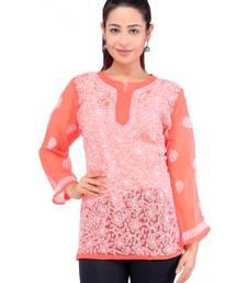 Lavangi Women Lucknowi Chikankari Georgette Short Top (Orange)