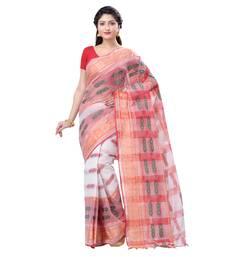 White woven cotton saree